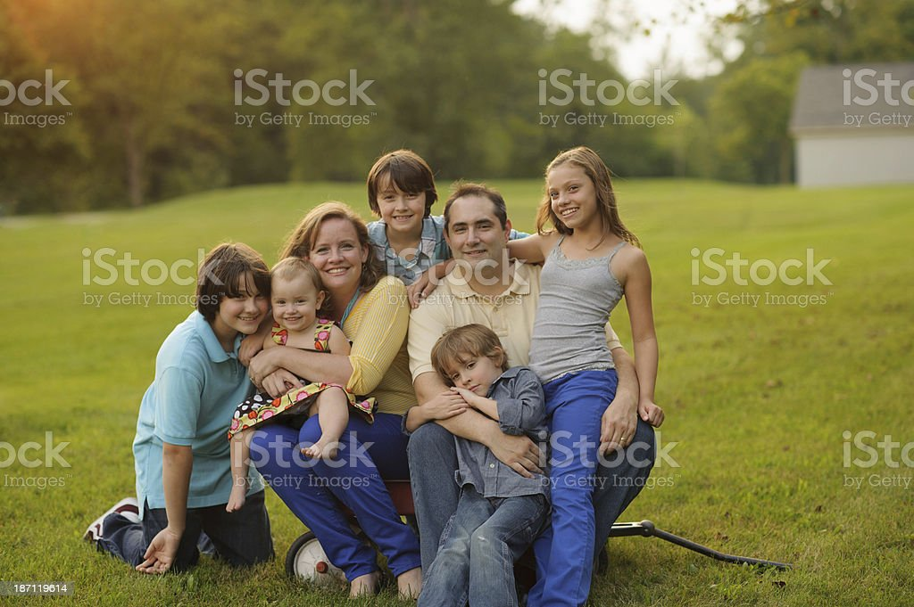 Happy Family Outside stock photo