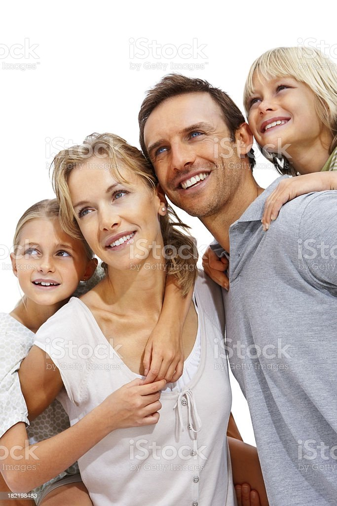Happy family over white background royalty-free stock photo