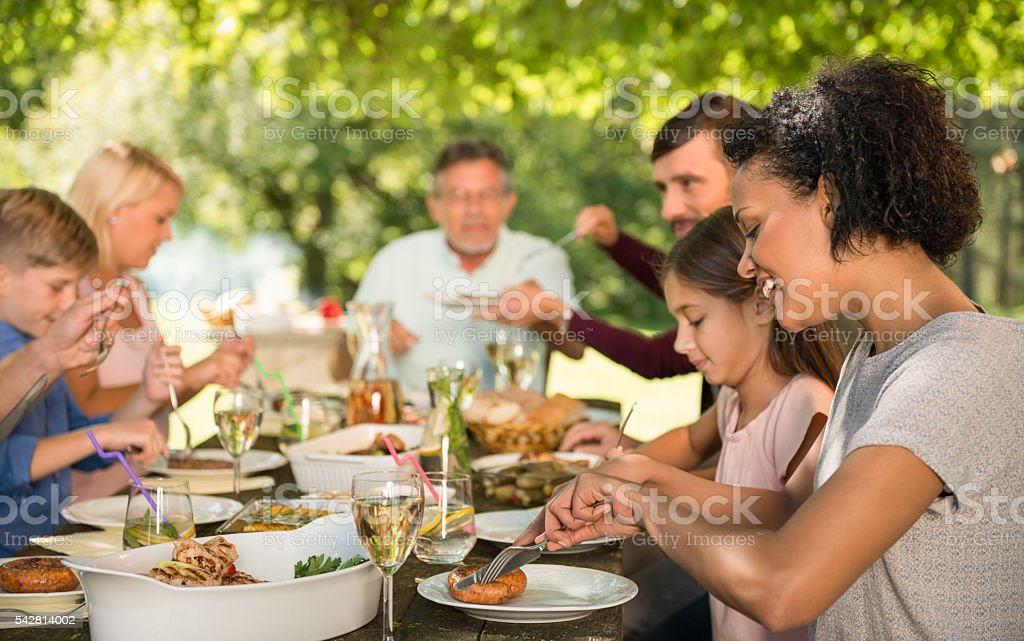 Happy Family Picnic Party. stock photo