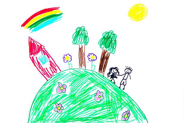 행복함 가족 - kids drawing 뉴스 사진 이미지