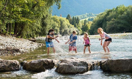 88688880 istock photo Happy family playing in the water 527672720