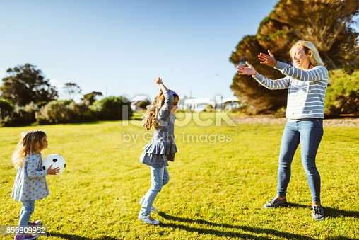 happy family have fun in the park