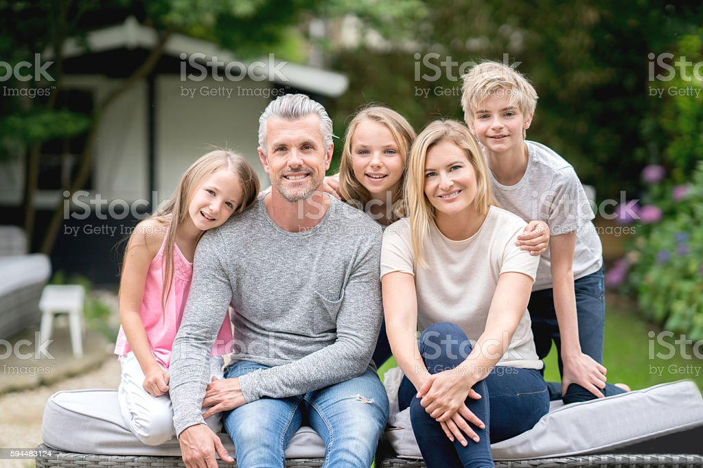 Happy family portrait stock photo