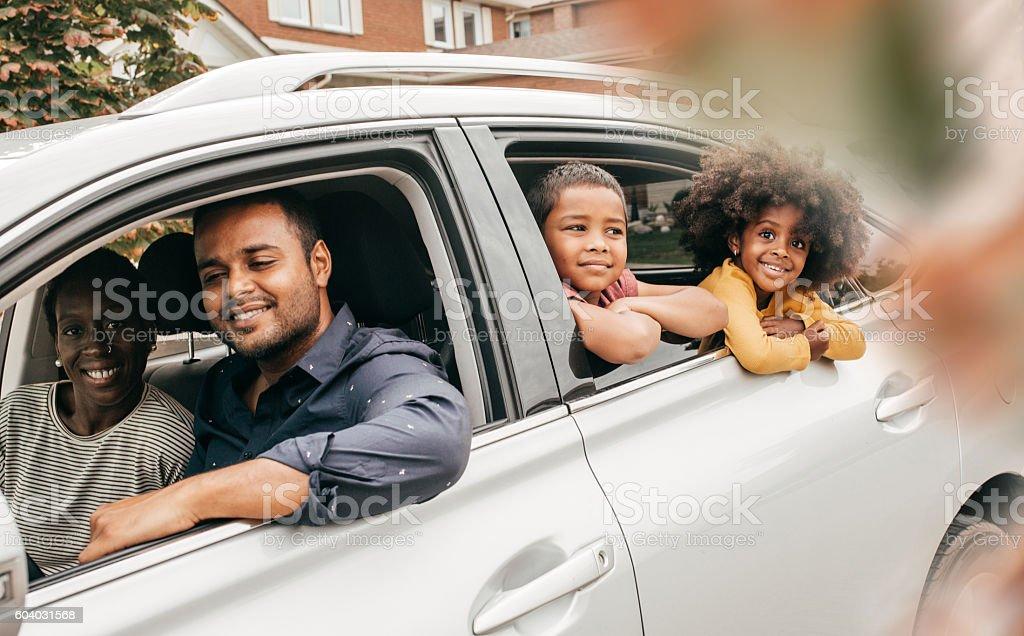 Happy family ready for vacation stock photo
