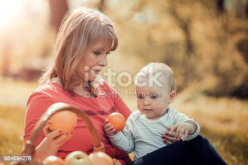 istock Happy family relaxing in the park,having fun. 654694276