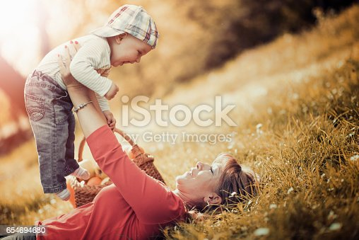 istock Happy family relaxing in the park,having fun. 654694680