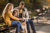 Young happy parents and their small daughter relaxing with their retriever on a bench in the park.