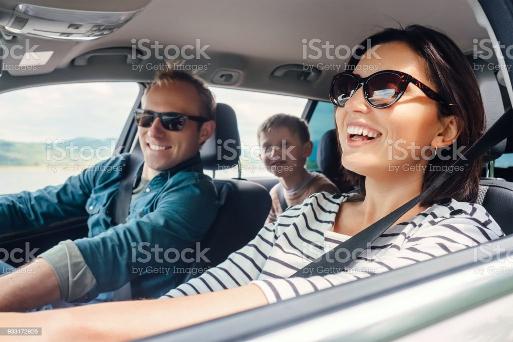 Happy family ride in the car stock photo