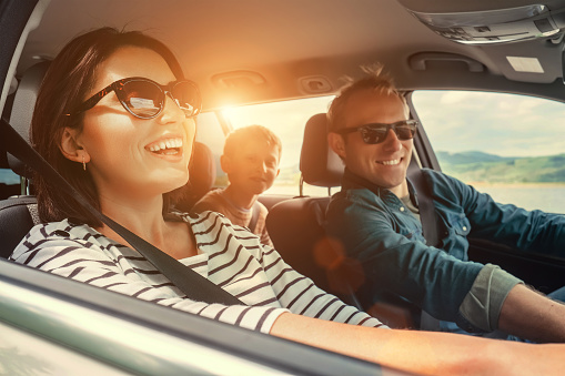 Happy Family Ride In The Car Stock Photo - Download Image Now