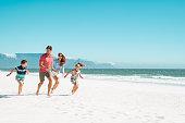 Children having fun on the beach