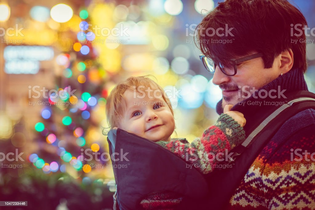 Happy family shopping in Christmas stock photo