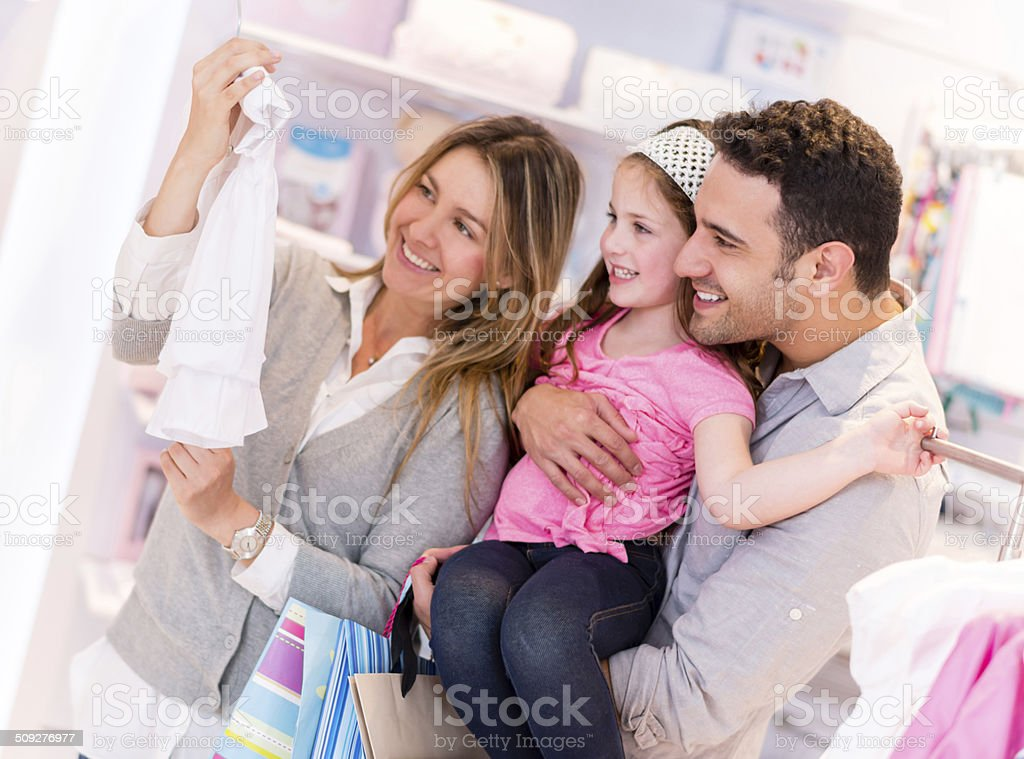 Happy family shopping stock photo
