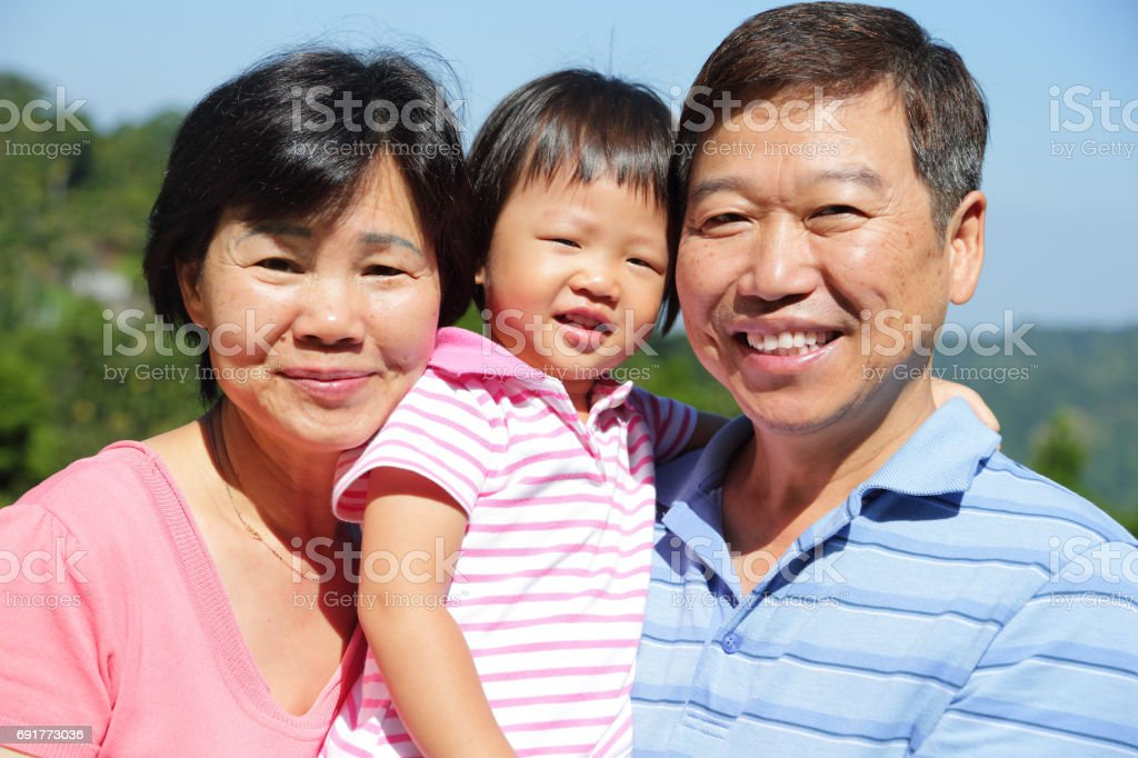 happy family smile happily stock photo