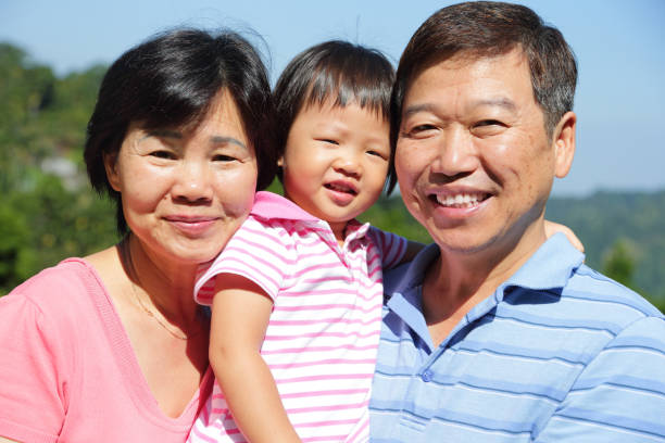 happy family smile happily stock photo