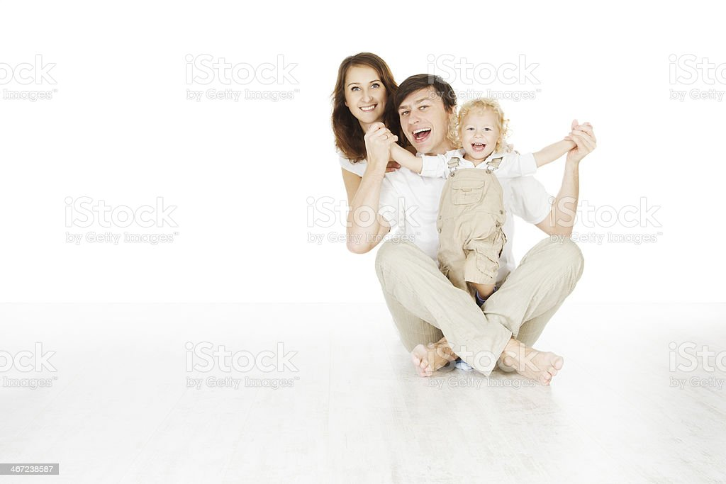 happy family, smiling father mother and laughting baby stock photo