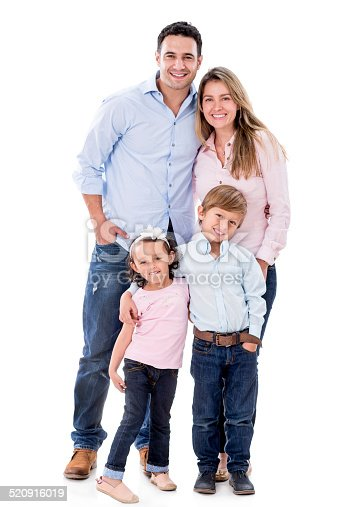 Happy family smiling together - isolated over white