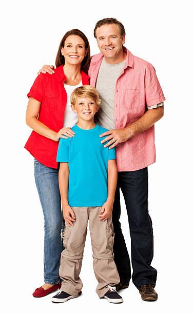 Glückliche Familie lächelnd zusammen-isoliert – Foto