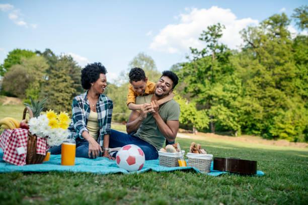 happy family spending a spring day on picnic - pasto al sacco foto e immagini stock