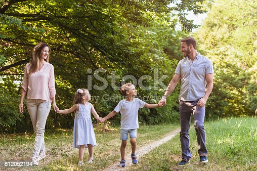 658444674istockphoto Happy family taking a walk in nature 812052194