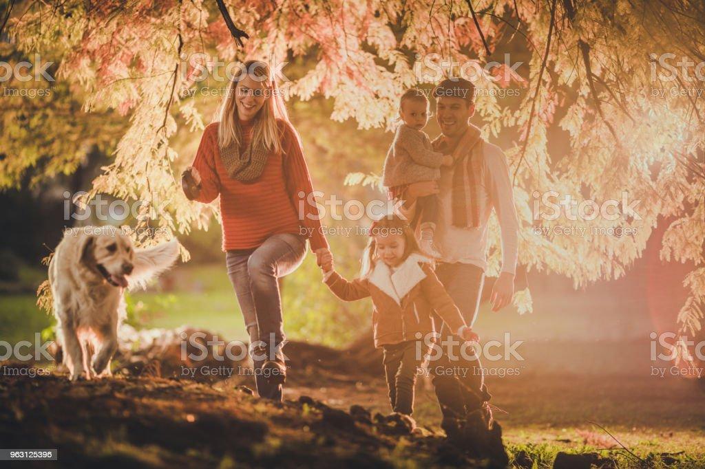 Lycklig familj tar en promenad med sin hund under höstdag i naturen. - Royaltyfri Avkomma Bildbanksbilder
