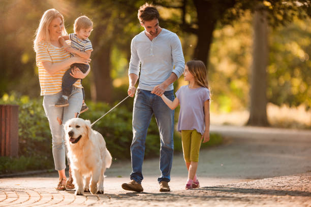 Happy family talking while walking with a dog in spring day picture id958658988?b=1&k=6&m=958658988&s=612x612&w=0&h=9ai63gl3zi1 gvqyseutt4wre 33cclpx72elipmuto=