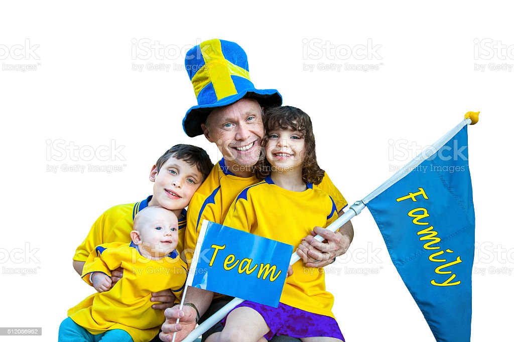 Happy family team portrait, flag and pennant with text. stock photo