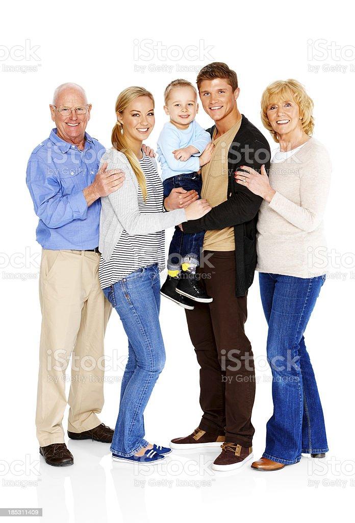 Familia feliz junto sobre blanco - foto de stock