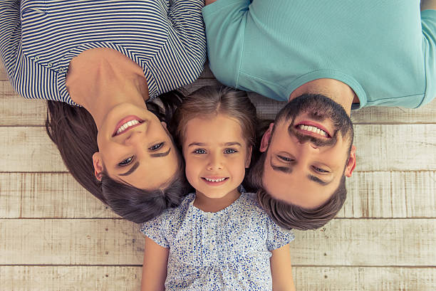 Happy family together stock photo