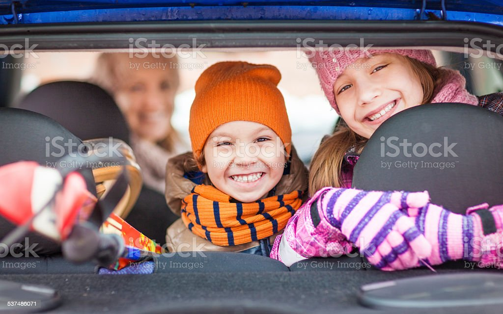 Happy family travelling stock photo