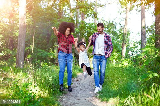 658444674istockphoto Happy family walking and swinging their daughter. 541291354