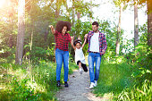 Family, Walking, Forest, Path, Child