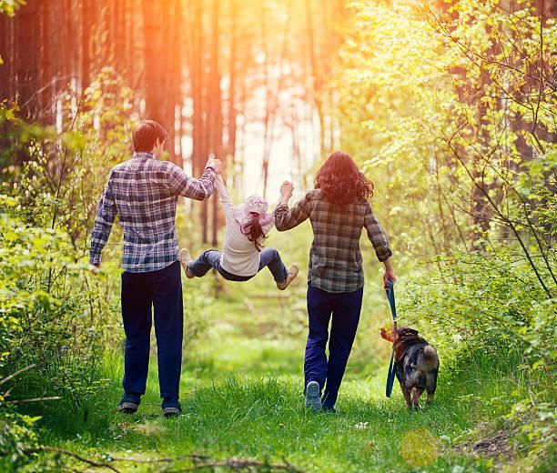 happy family walking with dog in the forest - hund skog bildbanksfoton och bilder