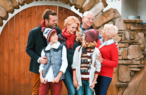 Happy Family Winter Portrait Stock Photo - Download Image Now