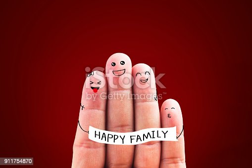 istock A happy family with 4 fingersFinger illustrations 911754870