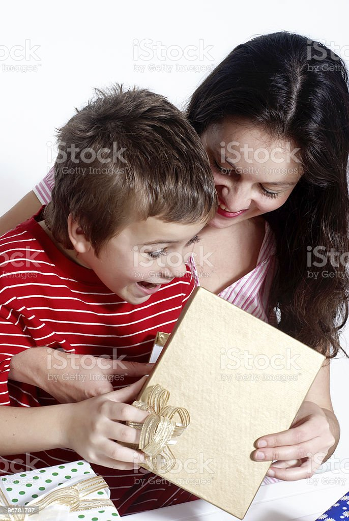 Happy family with a gifts royalty-free stock photo