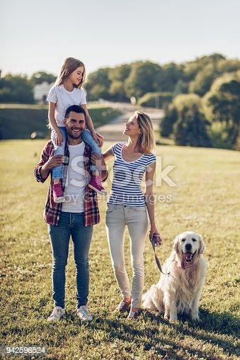 942596618 istock photo Happy family with dog 942596524