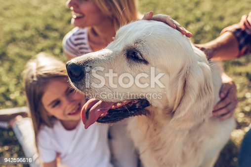 942596618 istock photo Happy family with dog 942596616