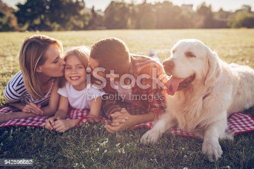 942596618 istock photo Happy family with dog 942596682