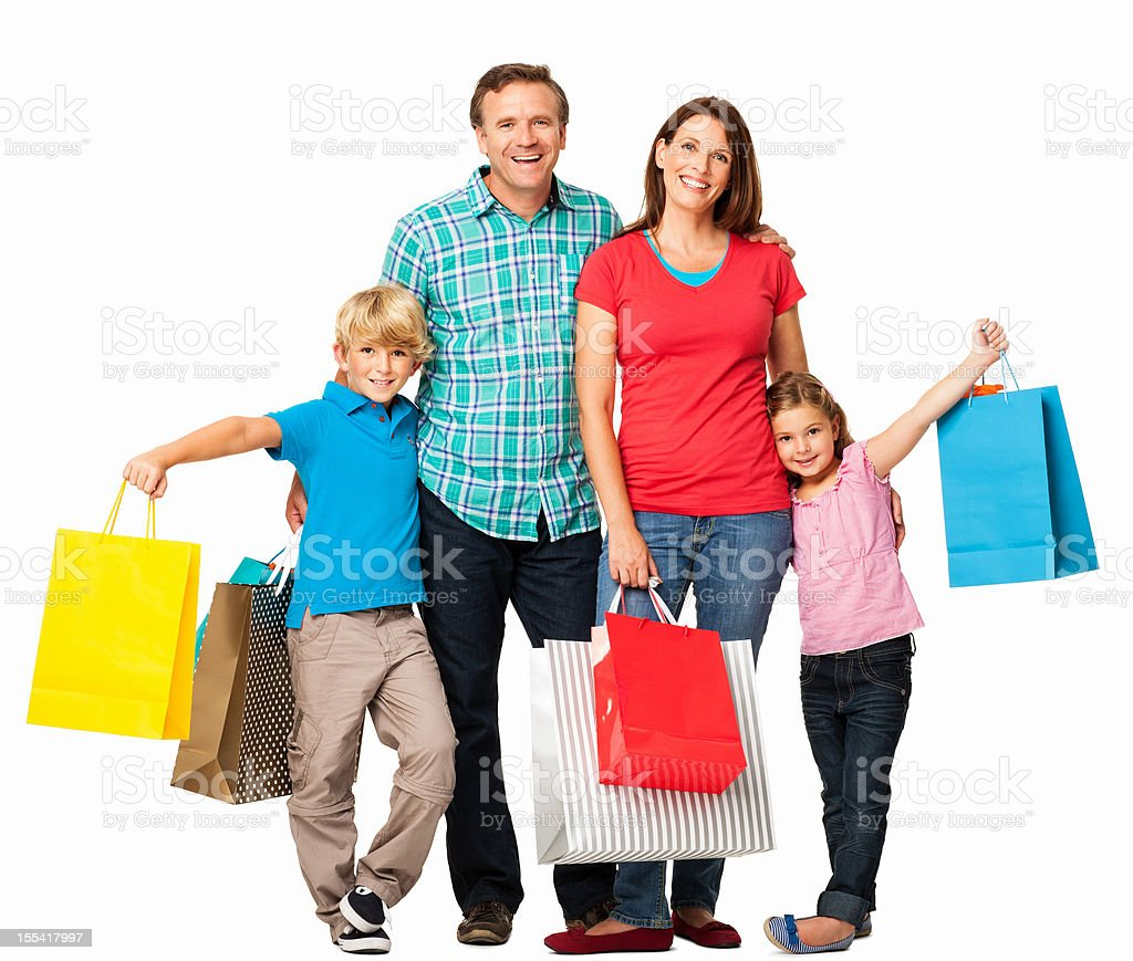 Happy Family With Shopping Bags - Isolated royalty-free stock photo