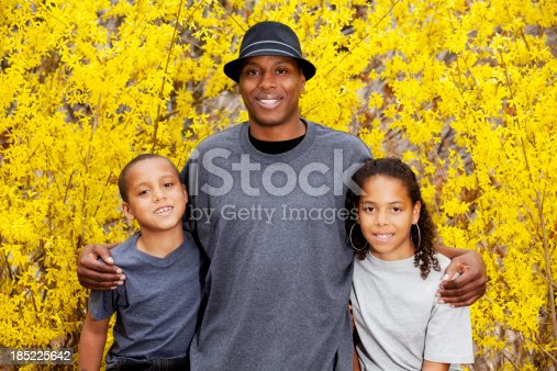 172407626 istock photo Happy family with single father outdoors 185225642
