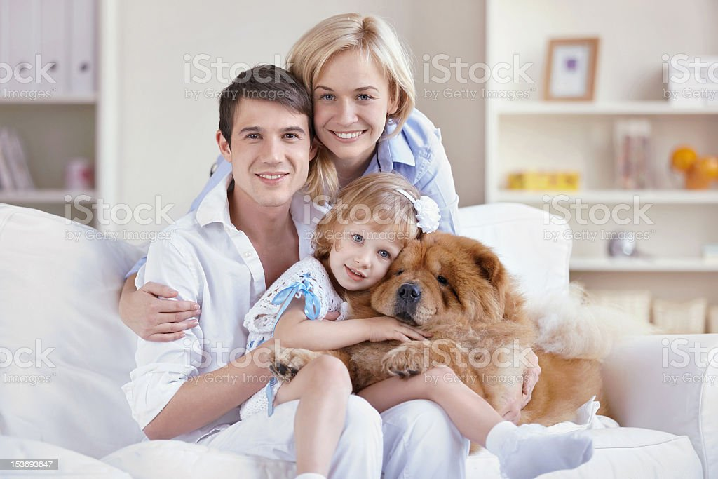 Happy family with the dog portrait royalty-free stock photo