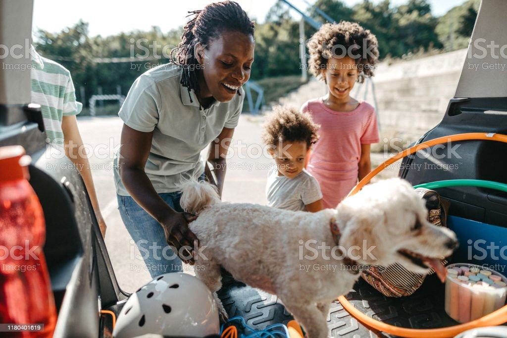 Happy family with their pet dog packing things in car trunk Young single mother packing stuffs in car trunk with two daughters on sunny morning 4-5 Years Stock Photo