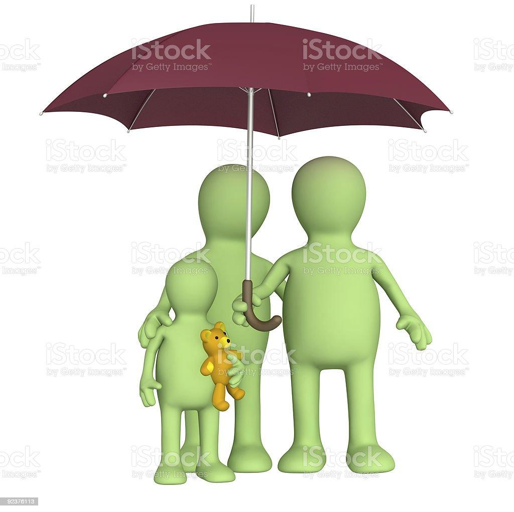 Happy family with umbrella royalty-free stock photo