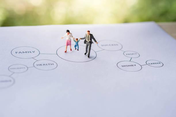 幸福家庭與工作生活平衡的概念。目前由小圖的父親, 母親和兒子在幸福的時刻。在紙上行走, 列印圖 - 公仔 個照片及圖片檔