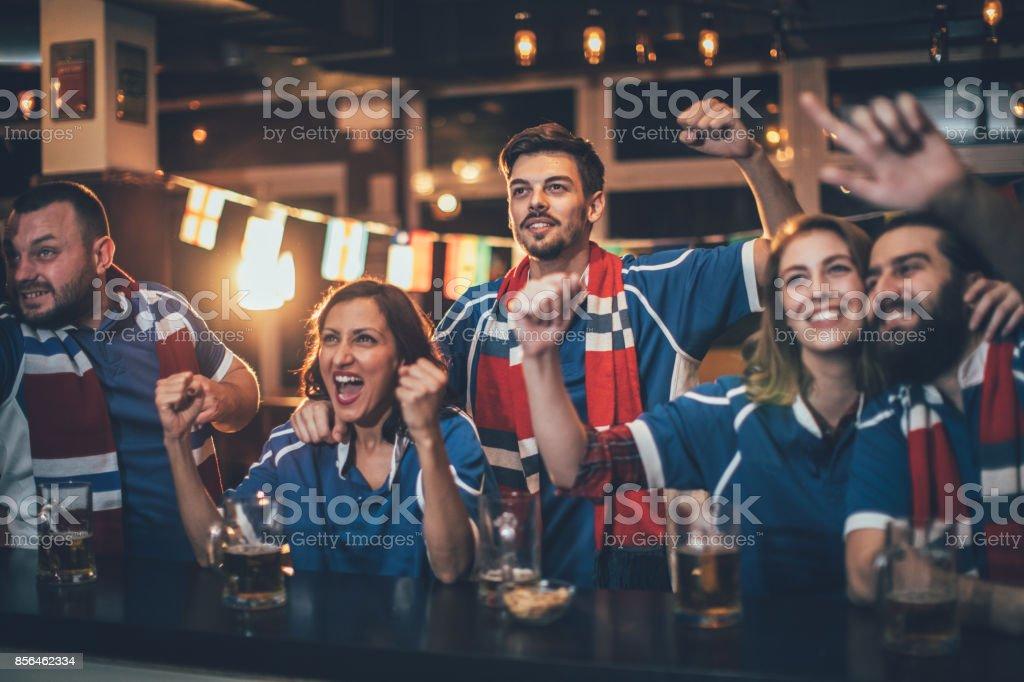 Happy fans stock photo