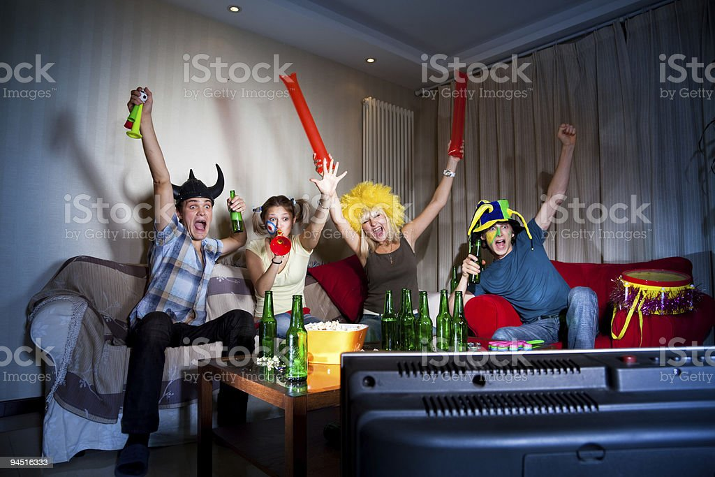 Happy fans royalty-free stock photo