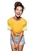 istock Happy fashionable model on white background 1033091122