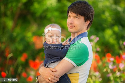 480122543 istock photo Happy father and child playing together on the poppy meadow. 1214694652