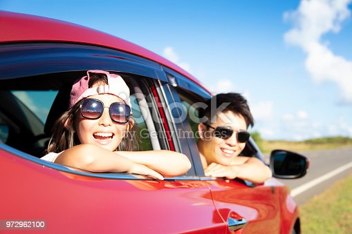 972962180 istock photo Happy father and daughter enjoy road trip 972962100