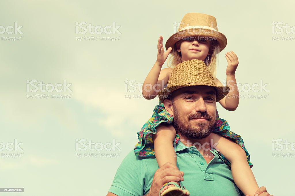 Happy father and daughter having fun together, family time concept stock photo